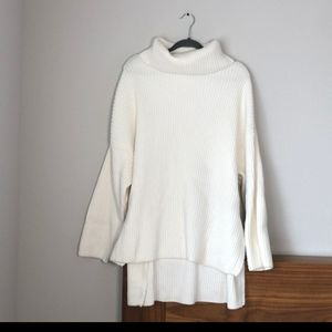 H&M white long knitted sweater dress turtleneck